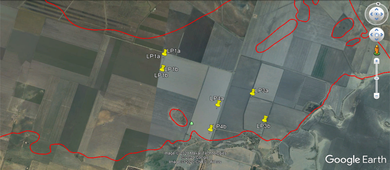 This map shows the location of paddock sites LP1 a and b, LP3 a and b, and LP4 a and b within the Leslies Road SLU (NSW OEH, 2011)