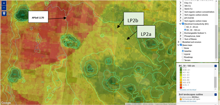 These three satellite images show(Predicted EC1:5 (dS/m) (top), and clay content (%) (bottom) for the subsoil at 30-100cm depth for site 'a' and 'b' of Paddock 2 (LP2a and LP2b) whose locations are also shown (middle) (NSW OEH, 2011).)