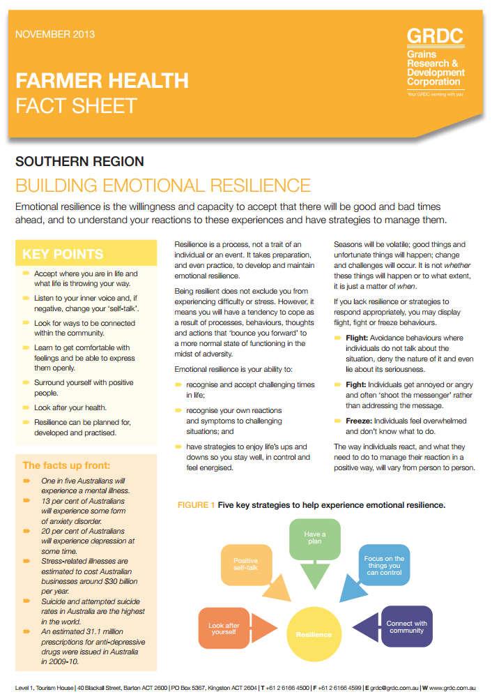 Emotional Resilience Fact sheet cover page