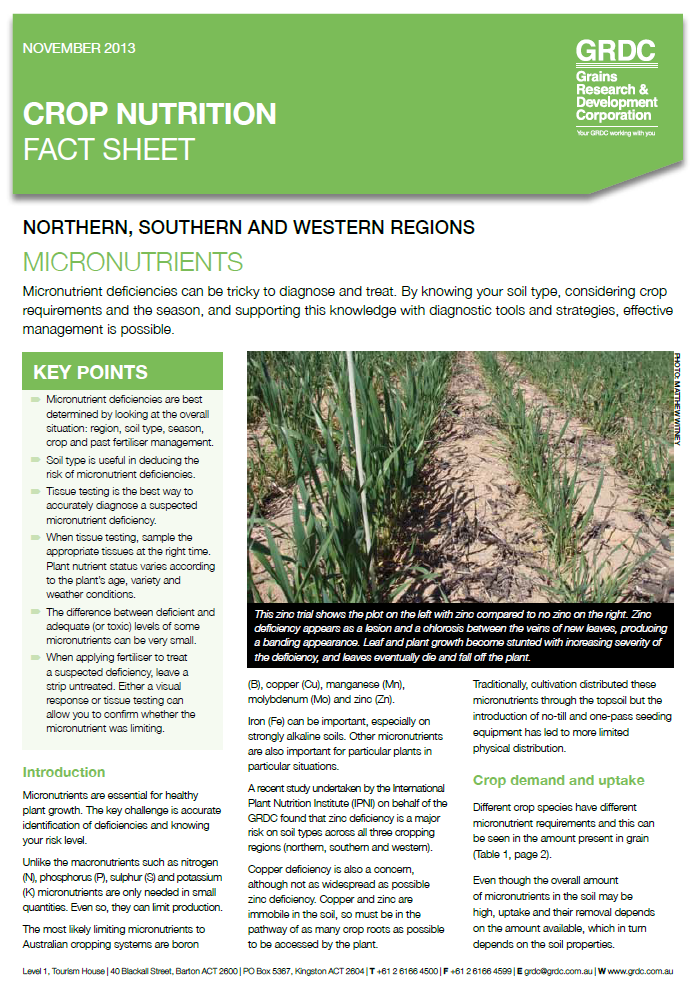 GRDC Crop Nutrition fact sheet: Micronutrients