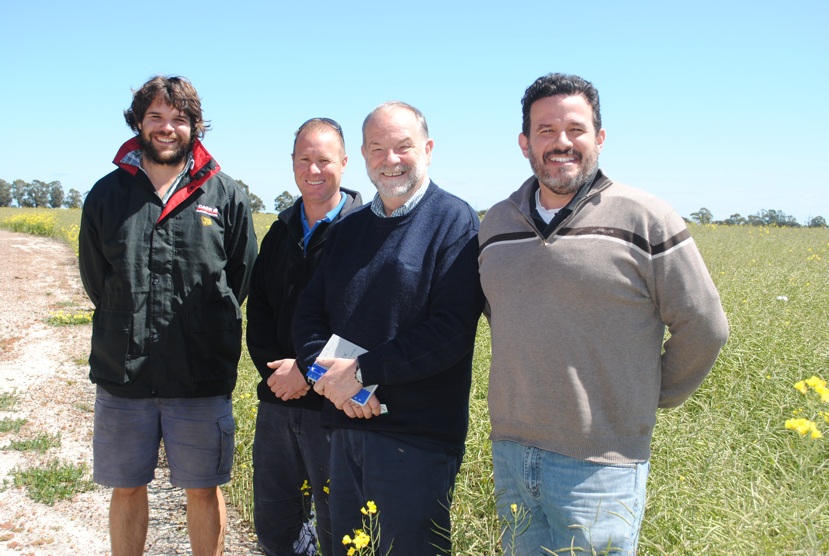 Leon Squibb, left, of Tambellup, and Mark Paganoni, of Broomehill, with GRDC Western Regional Panel member Bill Ryan and GRDC Western Regional Manager Grower Services Roger States.