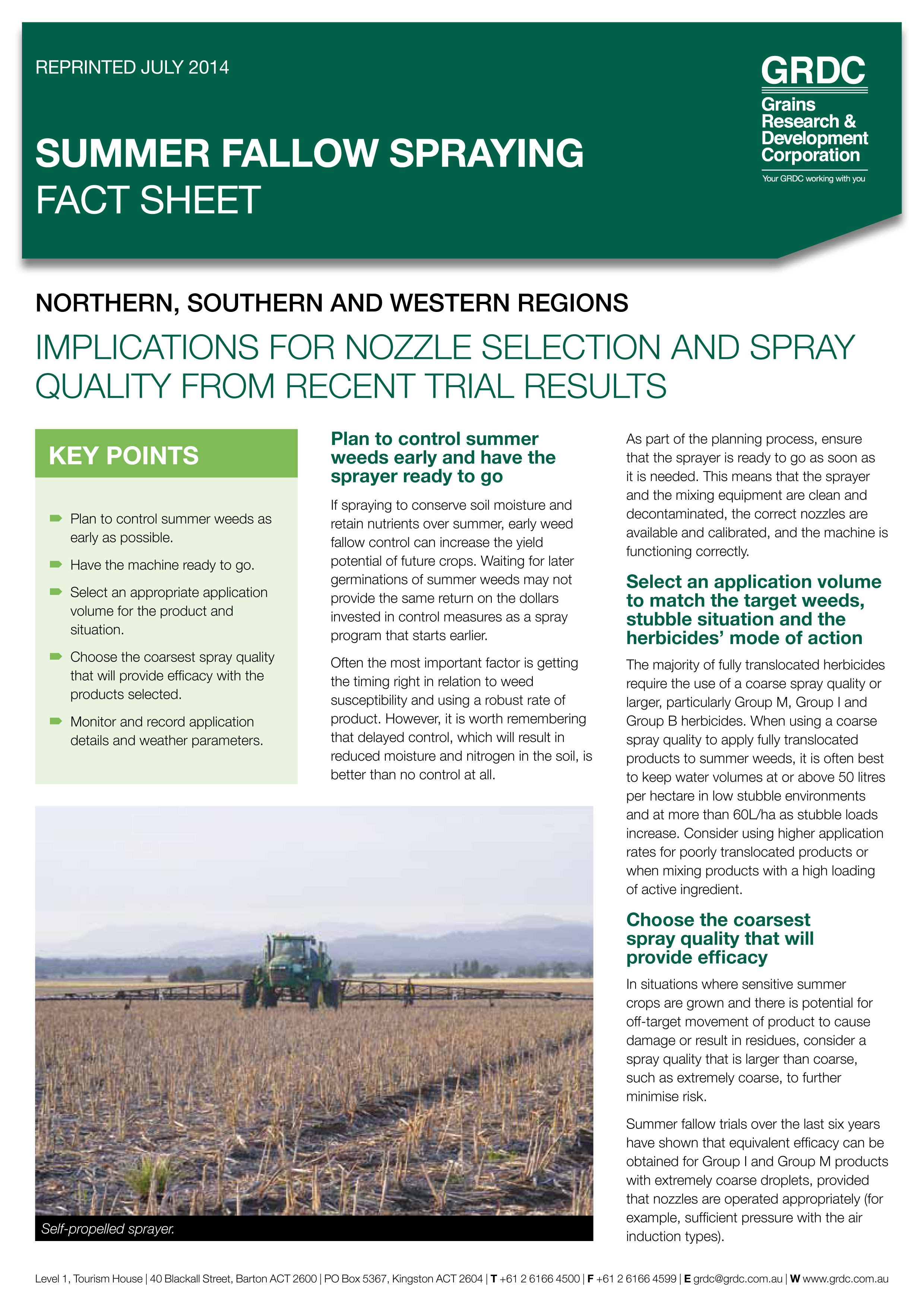 Cover of Summer Fallow Spraying fact sheet