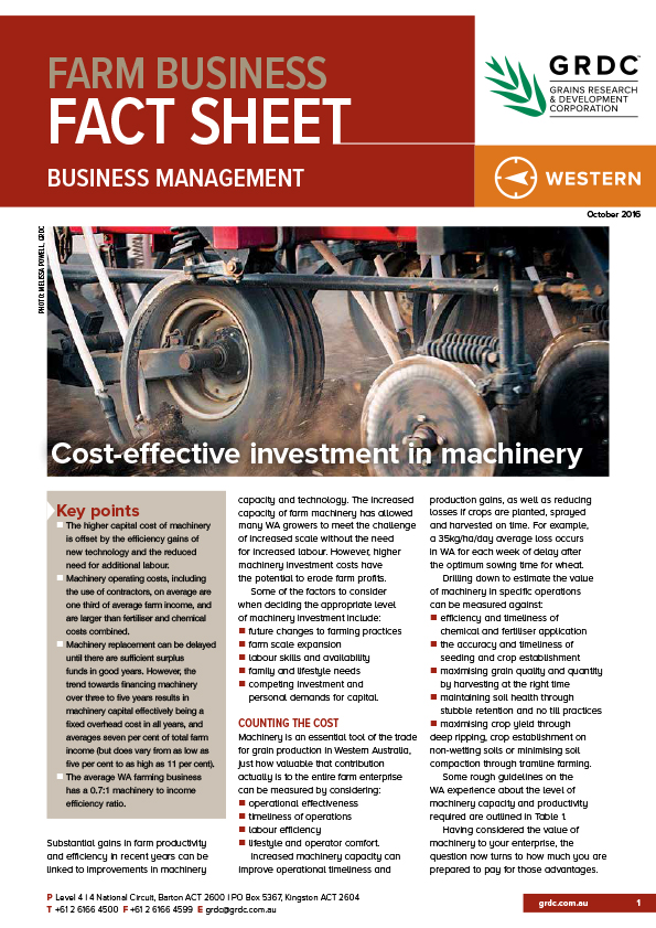 Image of Cost-effective investment in machinery fact sheet cover