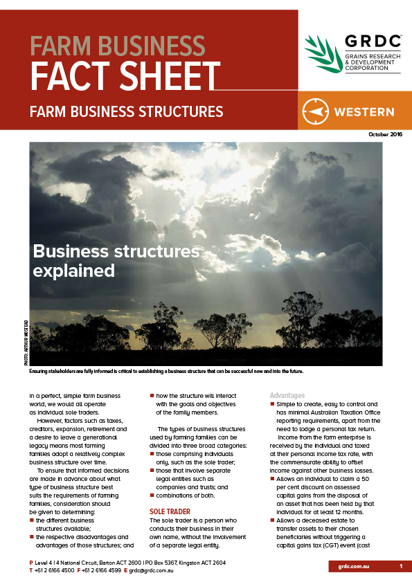 Image of cover of Farm business structures fact sheet