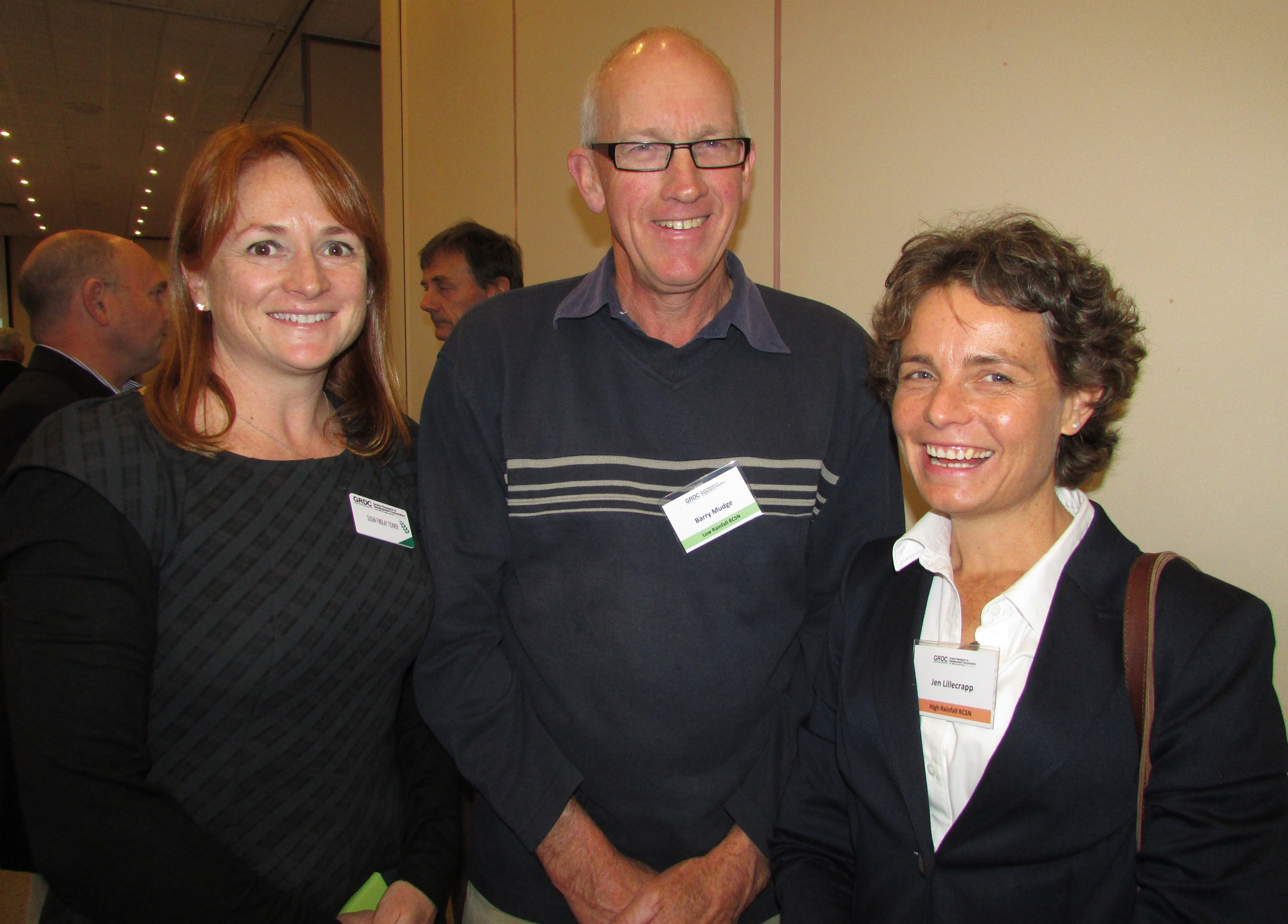 At a combined meeting of the RCSNs in 2014 were GRDC Southern Regional Panel member Susan Findlay Tickner (left) of Horsham (Victoria); low rainfall zone RCSN member Barry Mudge, Port Germein (SA); and Jen Lillecrapp of Struan (SA), who is a co-facilitator for both the HRZ and MRZ networks.