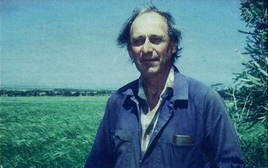 Grower Ed Abe in front of a field of Stirling barley on land continually cropped for 27years: resistant ryegrass threatening sustainability.
