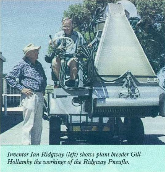 Inventor Ian Ridgway (left) shows plant breeder Gill Hollamby the workings of the Ridgway Pneuflo.