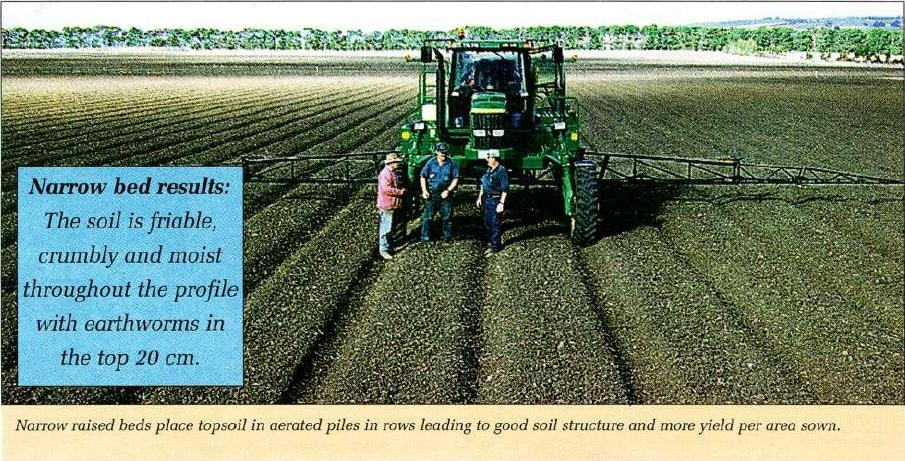 Narrow raised beds place topsoil in aerated piles in rows leading to good soil structure and more yield per