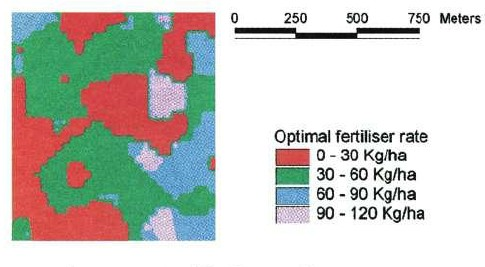 Map showing optimal fertiliser application rate