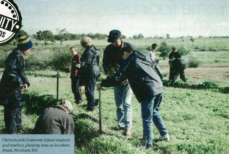 Christchurch Grammar School students and teachers planting trees at Southern Brook, Northam, WA