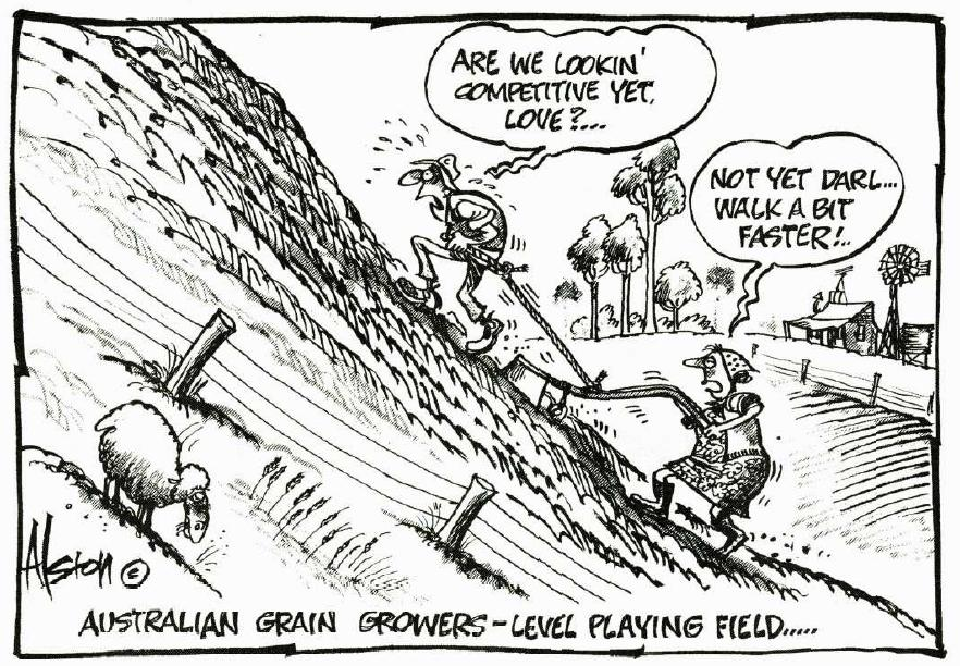 Cartoon concerned with how 'level' the playing field really is for farmers, as a farmer drags a till up hill.