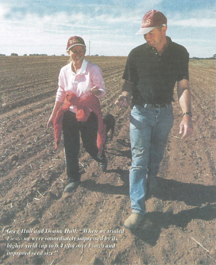 "Greg Hull and Donna Hull: ""When we trialed Fiesta we were immediately impressed by its higher yield (up to 0.4 t/ha over Fiord) and improved seed size."""