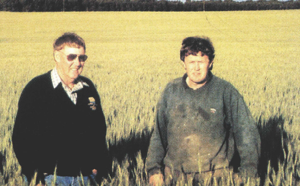 """Babbler - dough properties that suit both export and domestic markets: Brian and John Rooney of Melton, Yorke Peninsula, SA, in a field of Babbler"""" wheat, their highestyielding variety last season."""