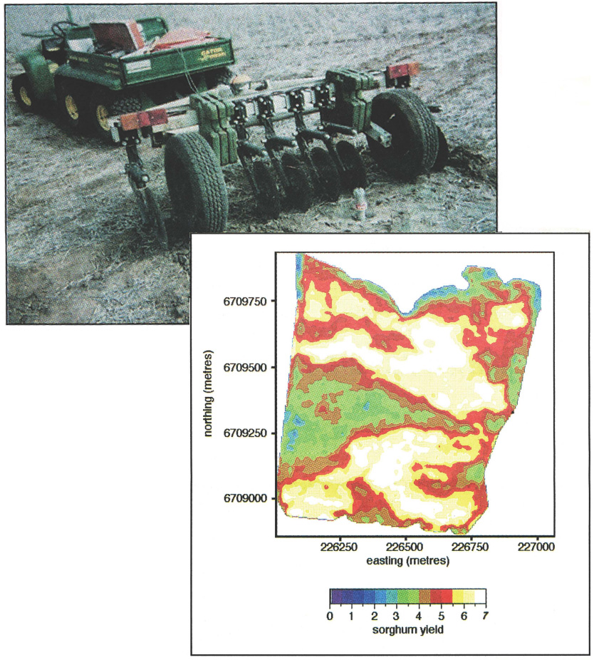 Above: The Veris 3100 measures the conductivity in soil using rolling disc electrodes. Measurements are taken at a similar spatial scale to that of a yield monitor. Left: Crop yield map showing manageable spatial patterns in variability.