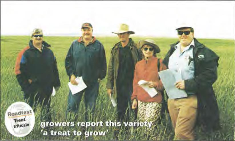 Treatd) stretching to the horizon: (L to R) Mark Klitscher from Coonalpyn; Adrian Pederick, grower, Coomandook; Henry Angus, Meningie; Kath Cooper and Brett Klau,from Hi-Fert Pty Ltd, who organised the demonstration trial of different rates and types of fertiliser on Treatd> on the Klitschers' Gotarooortoo, SA, property.