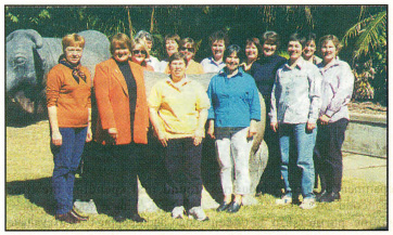 The members of the national reference group for 'Partners in Grain': (from left) Marg Cover (Q), Betty Heitman (WA), Jeanette Long (SA), Nickie Berrisford (Vic), Debbie Thiele (National Coordinator), Pam Krieg (NSW), Jane Allwright (Tas), Anne Heazlewood (Tas), Di Bunnett (Vic), Janelle Watson (NSW), Merna Cumow (National Chairman), Annie Pfeffer (Q), Vicki McAllister (WA) and Judy Wilkinson (SA).
