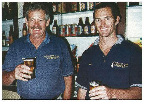 Father and son Kim and Neil Diamond sample ale brewed from the newly launched premium varieties. They intend to expand their 300 ha barley program at Buntine and Mundaring.