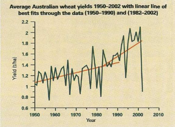 Average Australian wheat yields 1950-2002 with linear line of best fits through the data (1950-1990) and (1982-2002)