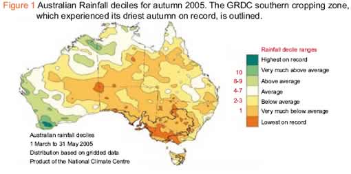 Figure 1 Australian Rainfal deciles for autumn 2005