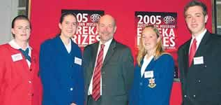 Photo of GRDC Eurkea winners with GRDC chairman Terry Enright