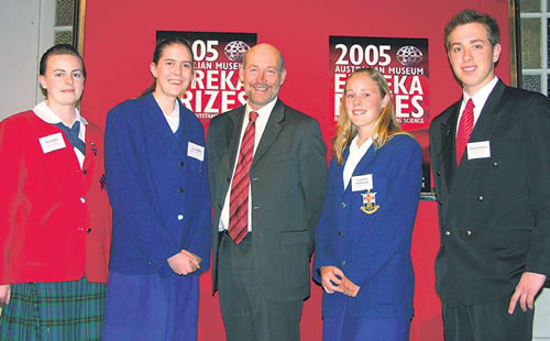 Eureka prizewinners with GRDC chairman Terry Enright: from left, Nicola Bell, first place; Tess Dillon and Cassandra MacDonald, second place; and Thomas Christie, fourth place. Third-placed Sam Holland was unable to attend.