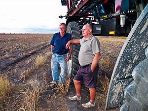 The Black brothers, Jim (left) and Laurie, have witnessed major changes in the soil underlying their northern farming system