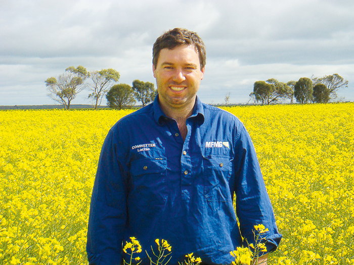 Image of man standing in canola crop