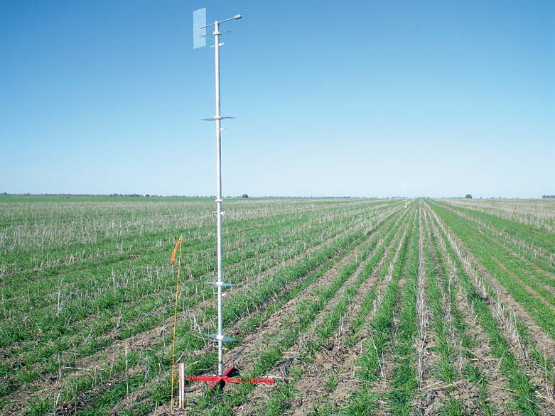 An ammonia detection mast in a field