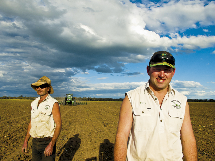 Photo of Victorian grower Steve Lanyon (right) and employee, Johnny Hamilton