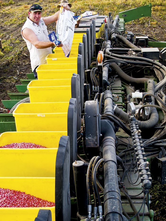 Photo of Steve Lanyon with seeding technology