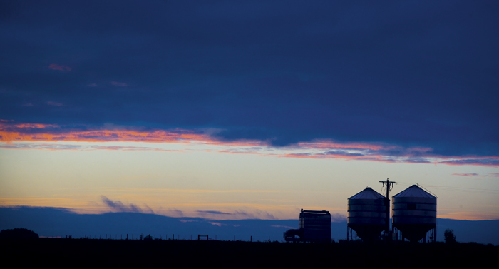 Photo of silo silhouettes