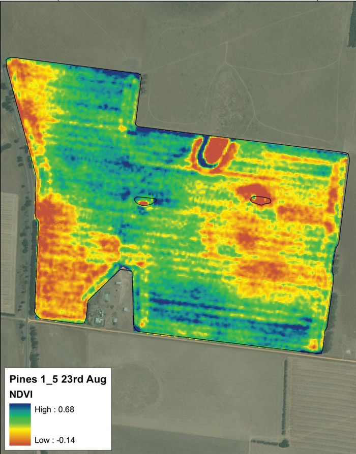 A thermal image of farm land