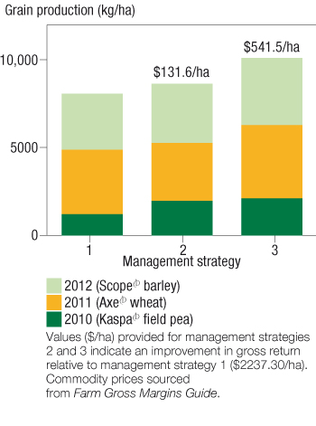 Image of a bar chart showing effect of long-term weed management strategies on total grain production.