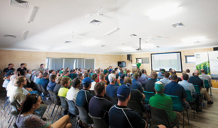 Photo showing a full crowd at the GRDC Grains Research Update held at the new Yuna Community Centre