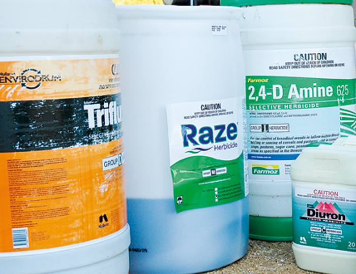 A photo of a range of agricultural chemicals