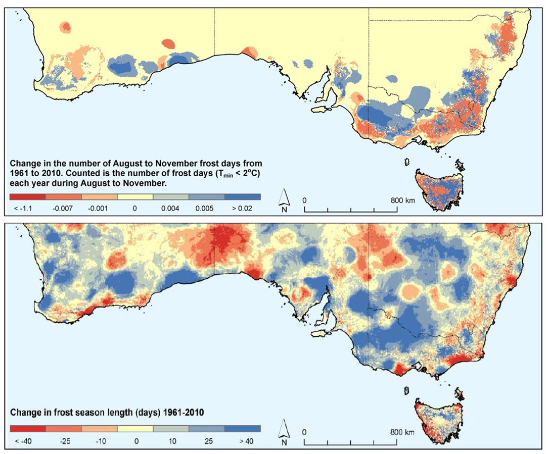 Graphs of temperatures over SE Australia showing an increase in the number of frost days and increased length in the frost season