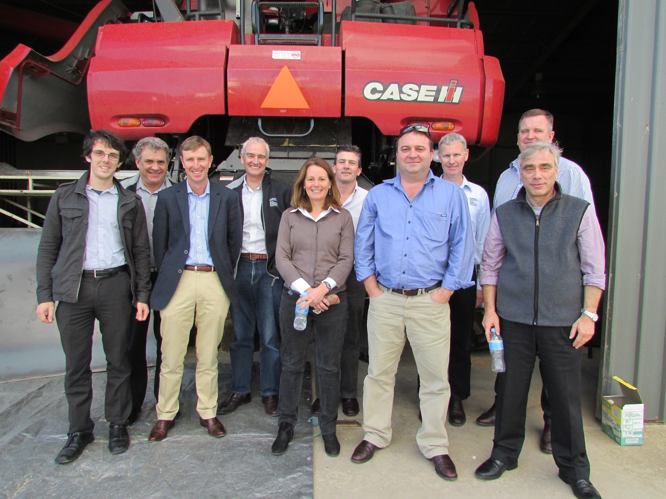 Members of the GRDC National Panel tour group at the University of SA's Mawson Lakes campus where the first generation of an integrated seed destructor mechanism for harvest weed seed control was demonstrated.