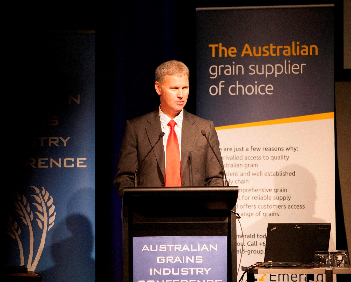 John Harvey speaking at the Australian Grains Industry Conference 2012