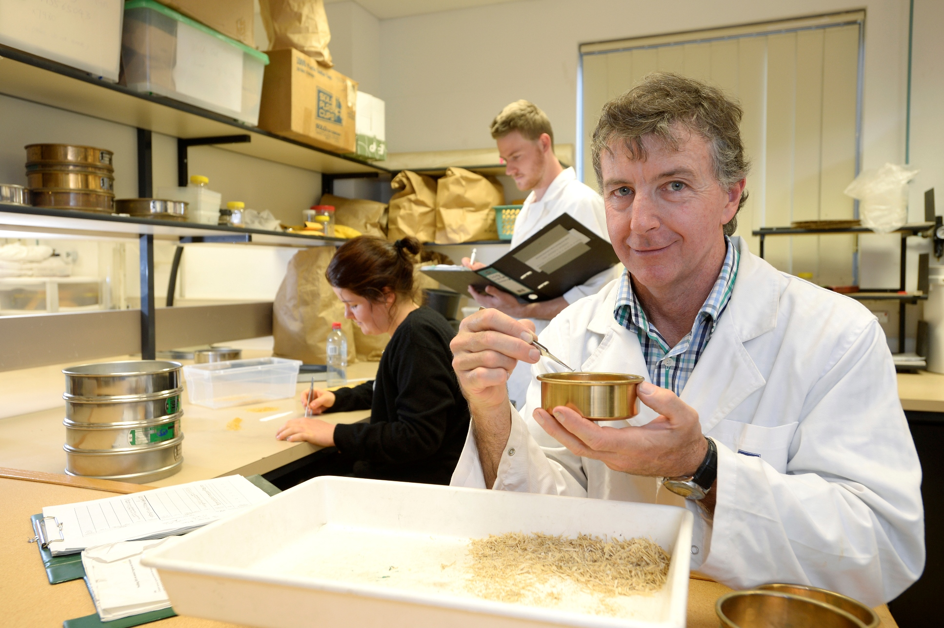 Image of Michael Walsh testing seed