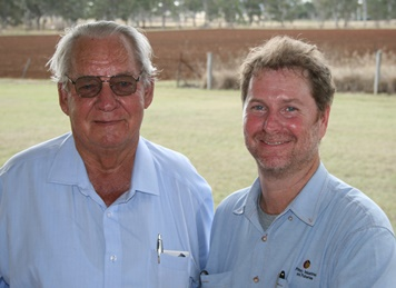 Image of Bundaberg district cane and peanut grower Neville Loeskow with Department of Agriculture and Fisheries (DAF) senior agronomist and project leader of the Grains Research and Development Corporation (GRDC) funded Coastal Solutions Group, Neil Halpin.