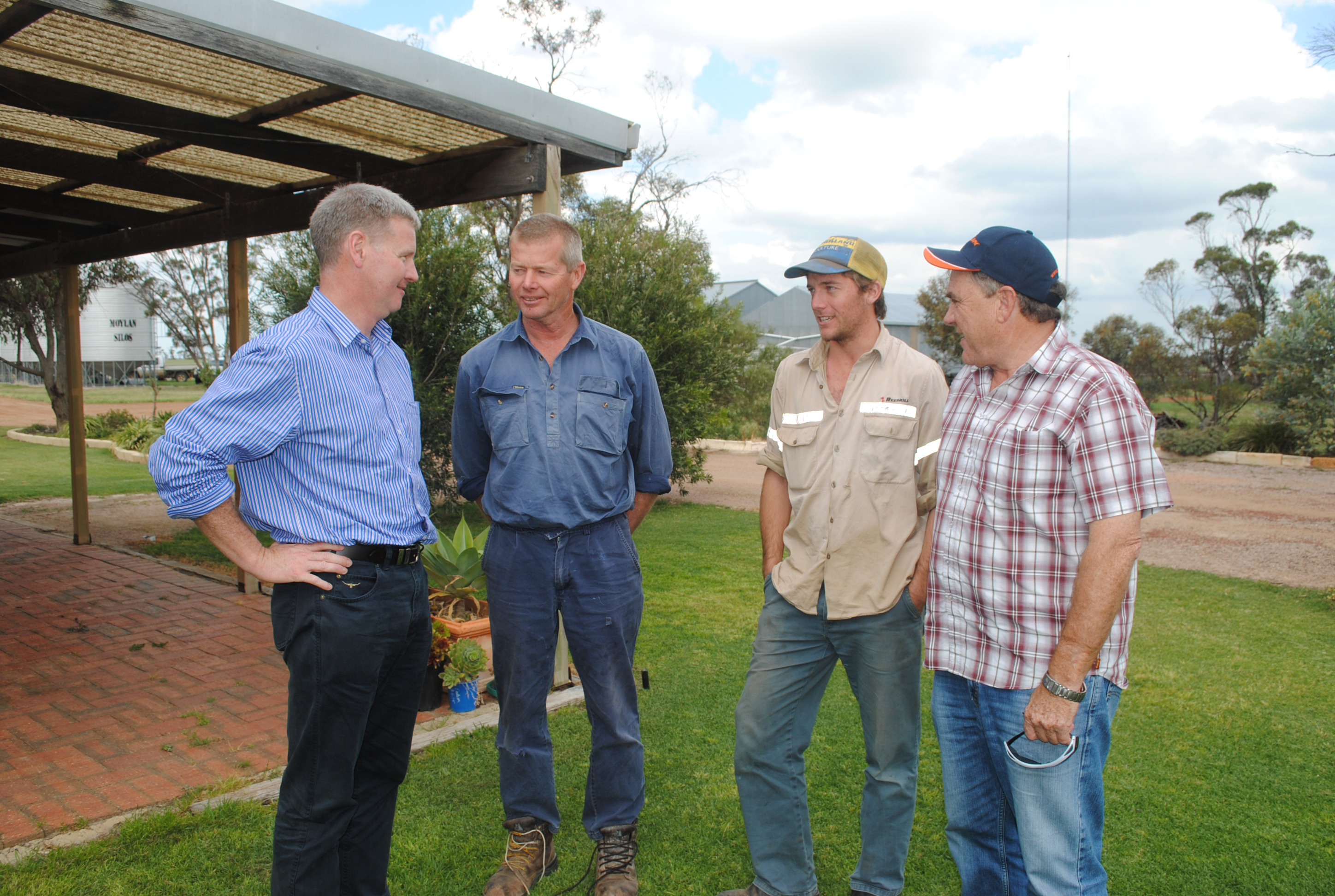 Image of GRDC managing director John Harvey, left, pictured during a previous GRDC western regional panel spring tour with GRDC western regional panel chairman Peter Roberts, right, and Ron Longbottom, Grass Patch, and Digby Graham, Salmon Gums.