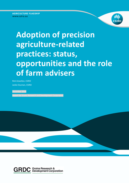 Cover page for research paper Adoption of precision agriculture related practices