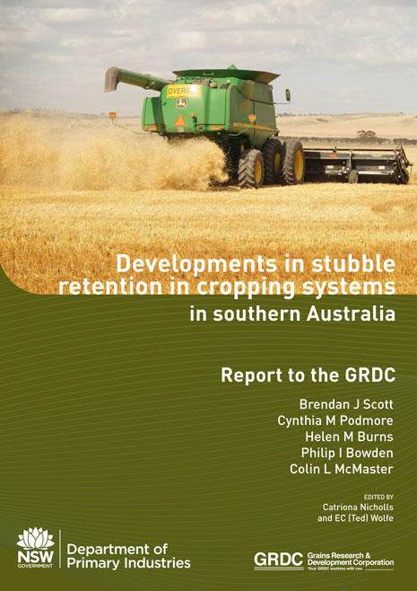 Cover page of report: Developments in stubble retention in cropping systems in southern Australia.