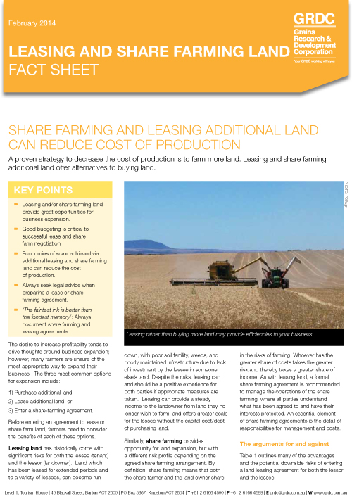 Leasing and share farming land fact sheet