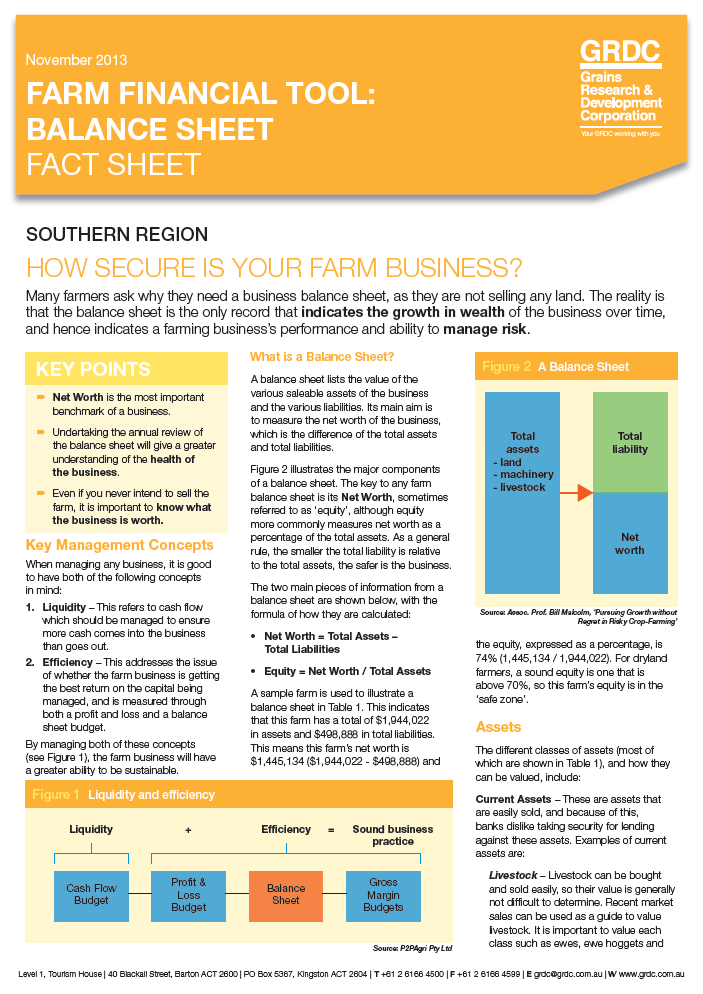 Farm Financial Tool: Balance Sheet Fact Sheet