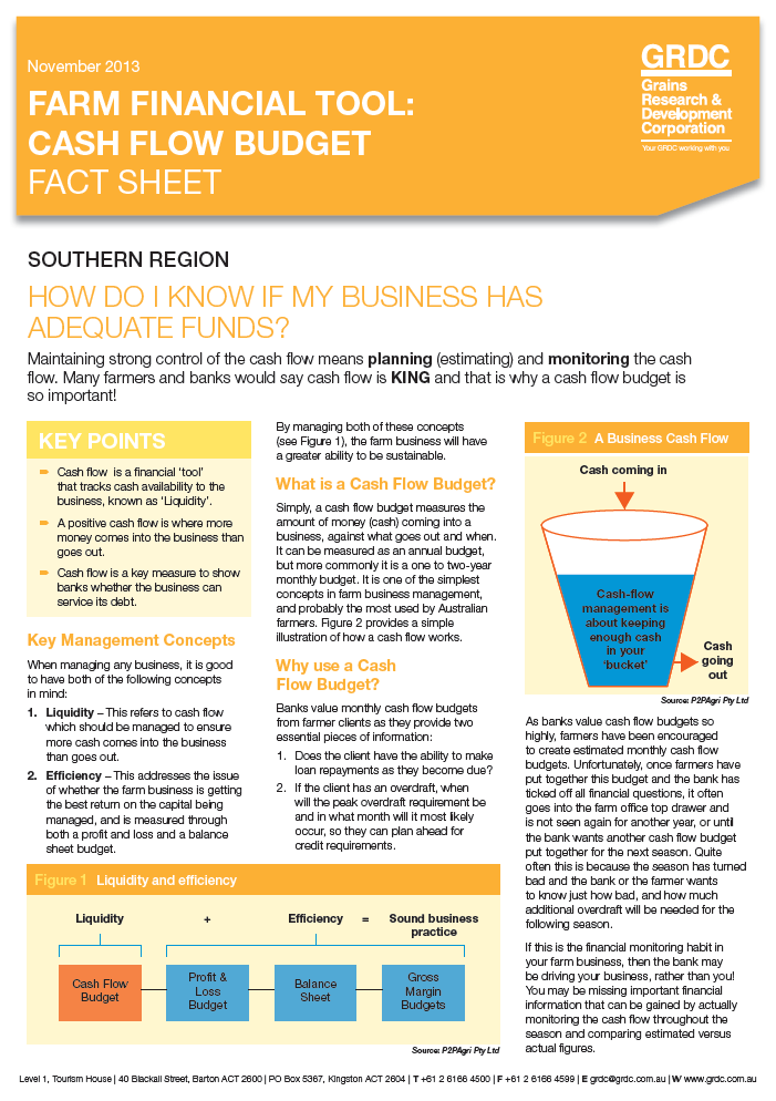 Farm Financial Tool: Cash Flow Budget Fact Sheet