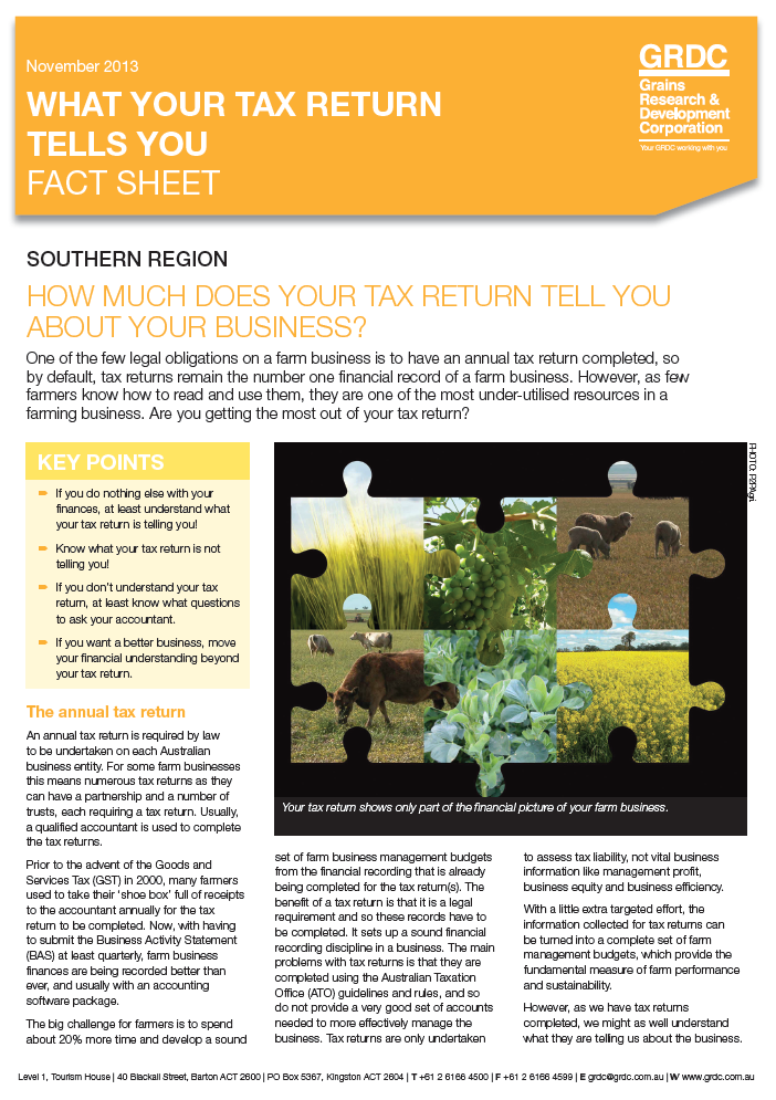 What your tax return tells you Fact Sheet
