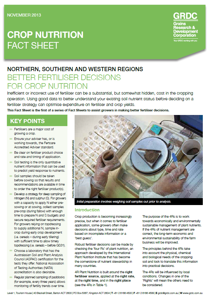 Cover page of Better Fertiliser Decisions for Crop Nutrition fact sheet
