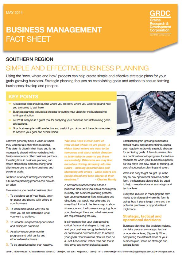 Farm Business Management Simple And Effective Business Planning Grdc