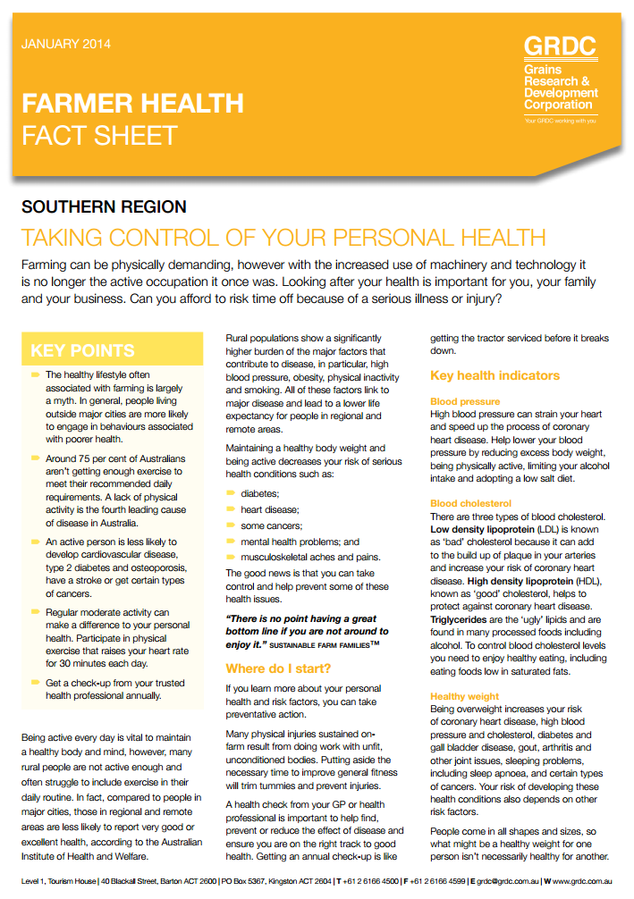 cover page of the Farmer Health fact sheet: Taking control of your personal health.